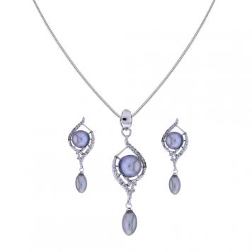 Sri Jagdamba Pearls Grey pearl Drop Pendant Set