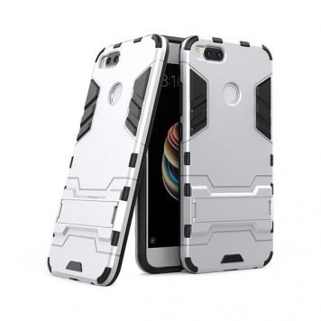 Redmi Mi A1 Robot Kickstand Cover Shockproof Military Grade Armor Defender Series Dual Protection Layer Hybrid TPU + PC Kickstand Back Case Cover - Silver by GINT