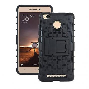 Vivo V7 High Quality Defender Tough Hybrid Armour Shockproof Hard PC + TPU with Kick Stand Rugged Back Case Cover - Black by GetSetStyle