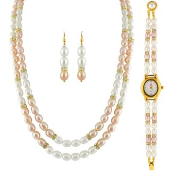 Sri Jagdamba Pearls 2 Line Necklace Set With Watch: