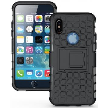 Vivo Y53I High Quality Defender Tough Hybrid Armour Shockproof Hard PC with Kick Stand Rugged Back Case Cover - Black by GINT