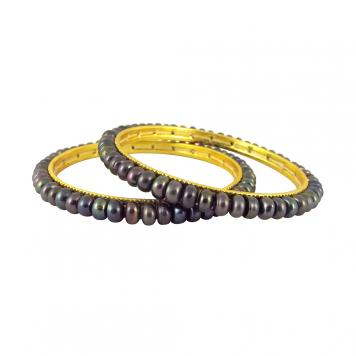 Sri Jagdamba Pearls Grey Button Pearl Bangles2-4