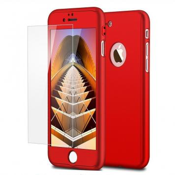 Apple Iphone 7G 360 Degree Ipaky Red - Full Body Protection (Front+ Back + Temper Glass) Case Cover by GetSetStyle