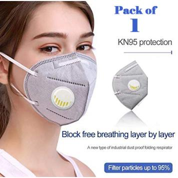 Reusable KN95 Anti Air Pollution Face Mask With 5 Layer Filter For Men & Women (Grey) Pack of 1 by RDS Collections
