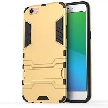 Vivo Y69 Robot Kickstand Cover Shockproof Military Grade Armor Defender Series Dual Protection Layer Hybrid TPU + PC Kickstand Back Case Cover - Golden by GINT