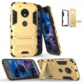 Moto G5S Robot Kickstand Cover Shockproof Military Grade Armor Defender Series Dual Protection Layer Hybrid TPU + PC Kickstand Back Case Cover - Golden by GINT