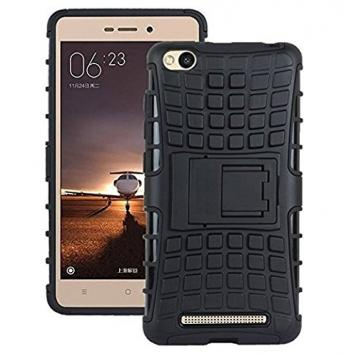 Redmi 3S Defender Tough Hybrid Armour Shockproof Hard PC + TPU with Kick Stand Rugged Back Case Cover (Black) by GetSetStyle