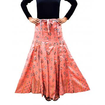 Grace18 Womens Cotton Printed Flared Long Skirt (Peach| Waist Size 32 to 40| Length 37 Inch)