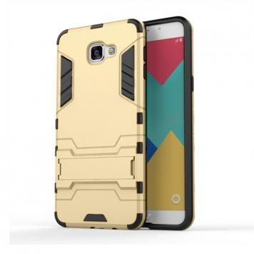 Samsung Galaxy J7 MAX Robot Kickstand Cover Shockproof Military Grade Armor Defender Series Dual Protection Layer Hybrid TPU + PC Kickstand Back Case Cover - Golden by GINT