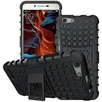 Vivo Y53 High Quality Defender Tough Hybrid Armour Shockproof Hard PC + TPU with Kick Stand Rugged Back Case Cover - Black by GetSetStyle