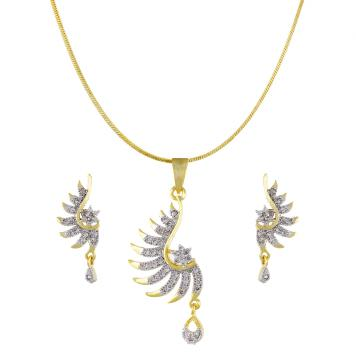 Siya American Diamond With Semiprecious Stone Pendant Set for Girls / Women By Khanakk