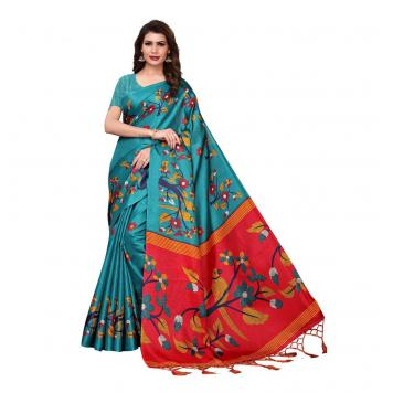 Pure Soft Cotton Silk Saree with Blouse (Multi) By Aslifashion