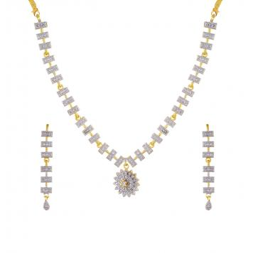 Most Special American Diamond Gold Plated Necklace Set for Girls / Women By Khanakk