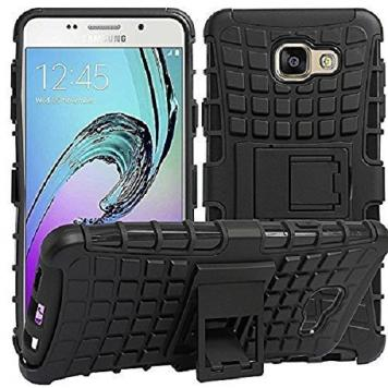 Samsung Galaxy J7 MAX High Quality Defender Tough Hybrid Armour Shockproof Hard PC + TPU with Kick Stand Rugged Back Case Cover - Black by GetSetStyle