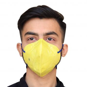 Reusable KN95 Anti Air Pollution Face Mask With 5 Layer Filter For Men & Women (Yellow) Pack of 1 by RDS Collections