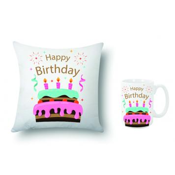 "Mekanshi Premium Happy Birthday Printed Combo Gift Pack (12"" x 12"" Cushion Cover with Filler + Printed Mug)"