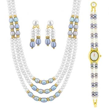 Sri Jagdamba Pearls Appealing Pearl Necklace Set With Watch