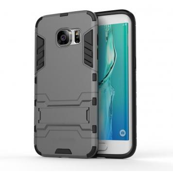 Samsung Galaxy J7 MAX Robot Kickstand Cover Shockproof Military Grade Armor Defender Series Dual Protection Layer Hybrid TPU + PC Kickstand Back Case Cover - Grey by GINT